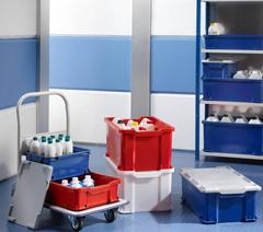 Stackable plastic storage boxes