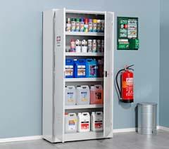 Chemical storage shelves