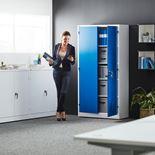 Säilytyskaappi, 4 hyllytasoa, 1900x1000x400 mm, valkoinen, sininen