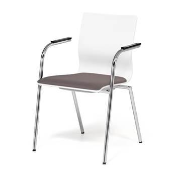 Szare krzesło konferencyjne z podłokietnikami