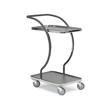 Modern tray trolley, 2 shelves, 100 kg load, 630x450x1000 mm