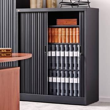 Tambour cabinet, 2 shelves, 1200x1000x420 mm, black, black