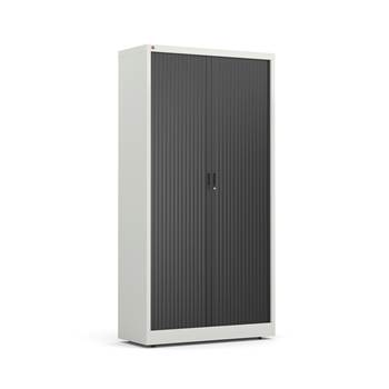 Tambour cabinet, 4 shelves, 1950x1000x420 mm, grey, black