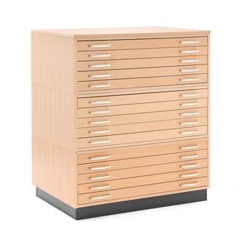 Complete drawing cabinet, 15 drawers, A1, beech veneer
