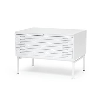 Complete metal drawing cabinet, single, A0, white top