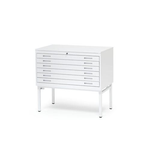 Piirustuslaatikosto, A1, 6 laatikkoa, valkoinen