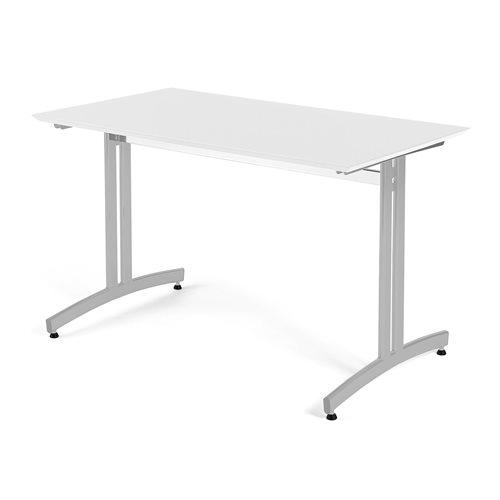 Ruokapöytä, korkeapainelaminaatti, 1200x700 mm, valkoinen, harmaa