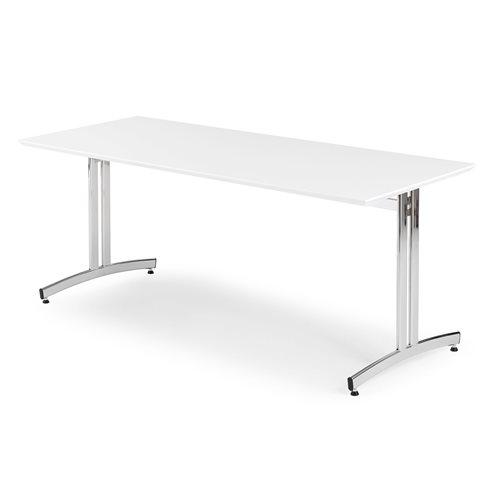 Stół do jadalni 700x720x1800mm Blat: Biały, Stelaż: Chrom