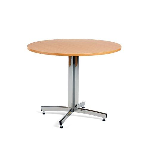 Ruokapöytä, Ø900 mm, pyökki, kromi