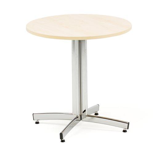 Stół okrągły o średnicy 700mm, Blat: Brzoza, Stelaż: Chrom