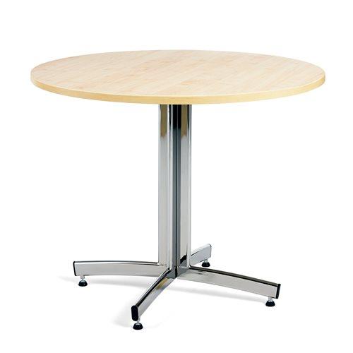 Ruokapöytä, Ø900 mm, koivu, kromi