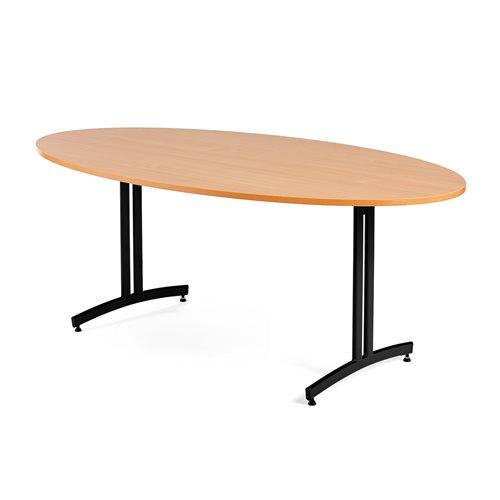 Ruokapöytä, ovaali, 1200x700 mm, pyökkilaminaatti, musta