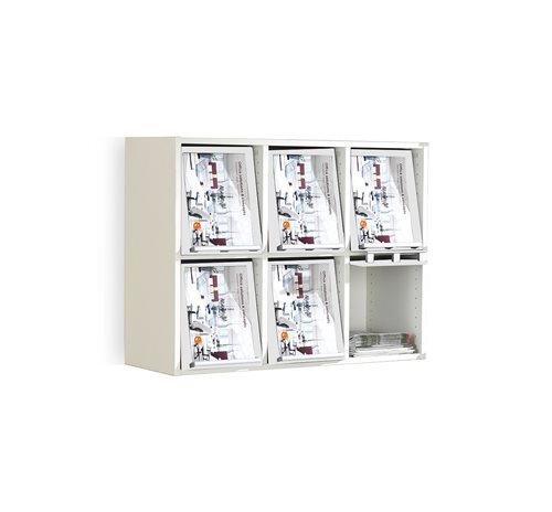 Seinään kiinnitettävä esitehylly, 6 lokeroa, valkoinen