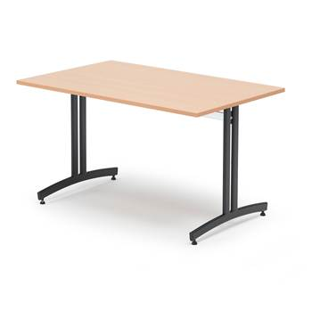 Canteen table, 1200x700x720 mm, beech laminate, black