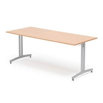 Canteen table, 1800x700x720 mm, beech laminate, alu grey