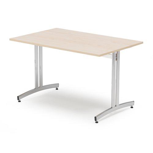 Ruokapöytä, 1200x700 mm, koivulaminaatti, kromi