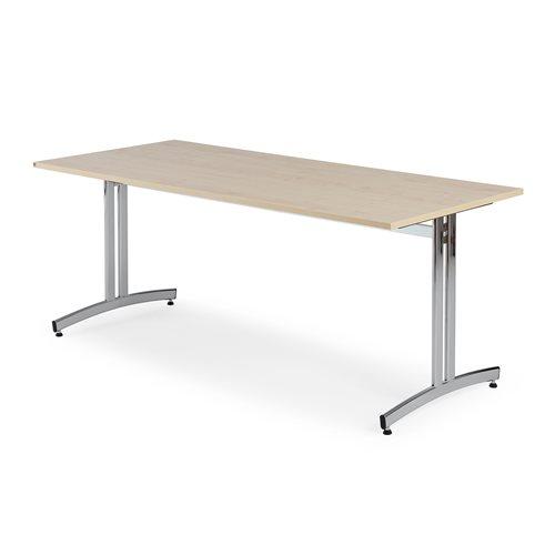 Stół do jadalni 720x700x1800mm, Blat: Brzoza Laminat, Stelaż: Chrom