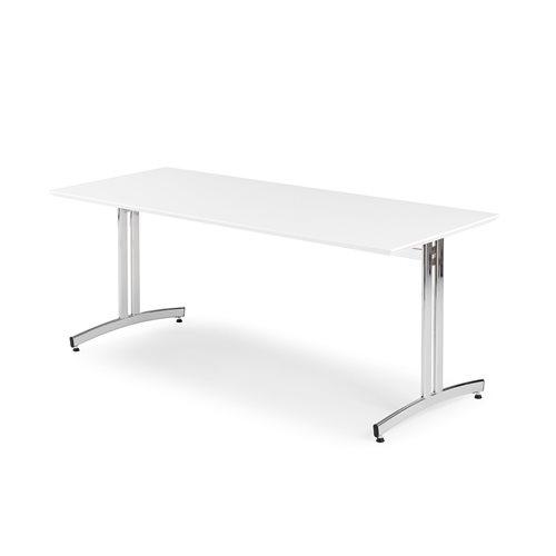 Stół do jadalni 720x800x1800mm, Blat: Biały Laminat, Stelaż: Chrom