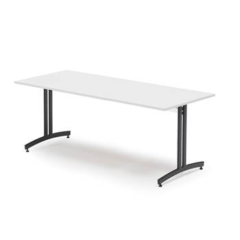 Canteen table, 1800x800x720 mm, white laminate, black