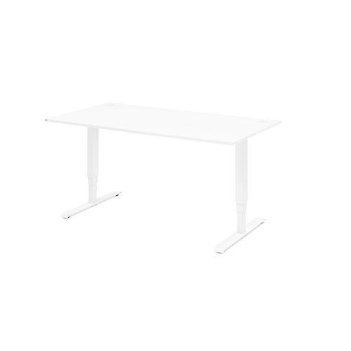 Biurko do pracy stojącej, proste, 1400x800 mm, biały laminat, biały