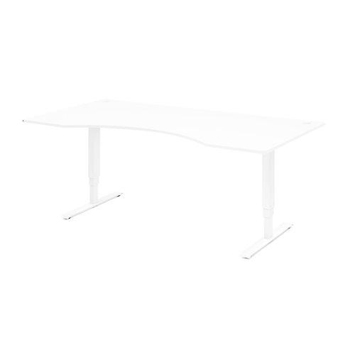 Biurko do pracy stojącej, ergonomiczne, 1600x800 mm, biały laminat, biały