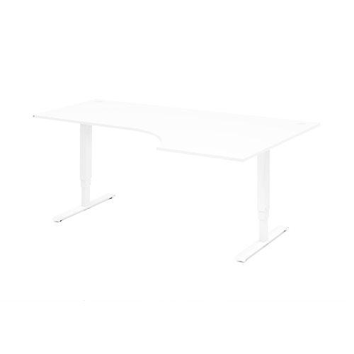 Sähköpöytä Adeptus, kulma, oikea, 1600x1200 mm, valkoinen, valkoinen