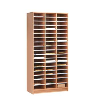 Pigeon hole storage unit, 54 comps, 1880x915x400 mm, beech
