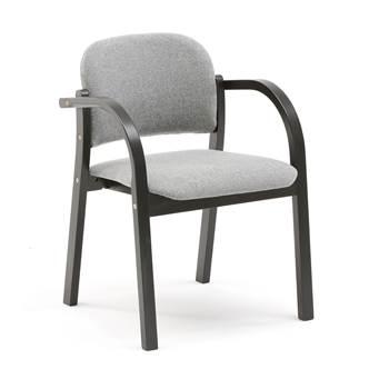 Czarne krzesło konferencyjne z podłokietnikami