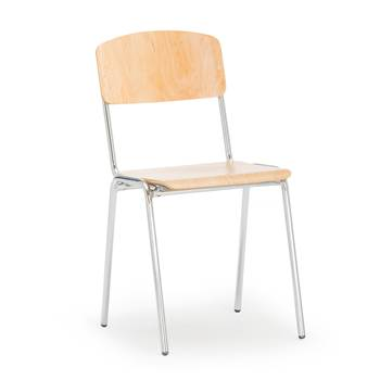 Canteen chair, birch, chrome