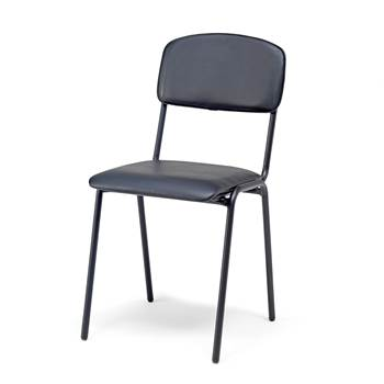 Canteen chair, leatherette, black