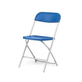 Stable folding chair, blue, alu grey