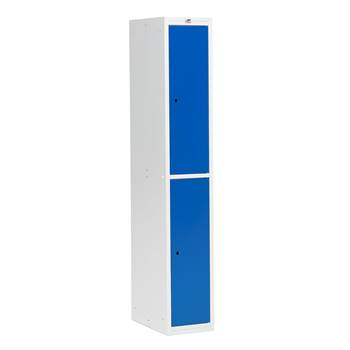 Flatpack clothes locker, W 300 mm, 2 doors, grey frame, blue doors