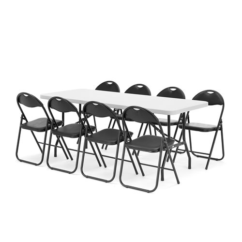 Package deal: 1 x table (L1830mm) + 8 x black chairs