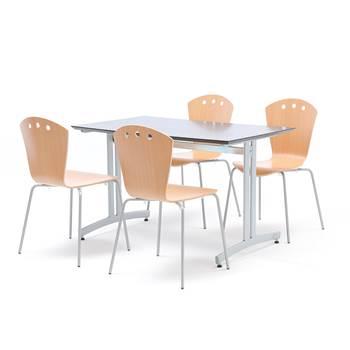 Kantinegruppe: 1 bord 1200x700mm svart/alu, 4 stoler bøk/alu