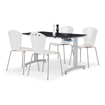 Cnateen package deal, 1200x700mm table, black/alu + 4 chairs, white/alu