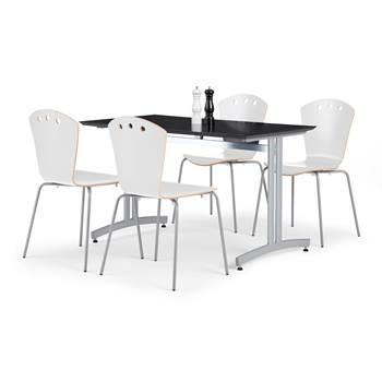 Lunchrumsgrupp: 1 bord 1200x700 mm, svart, 4 stolar i vitt och grå