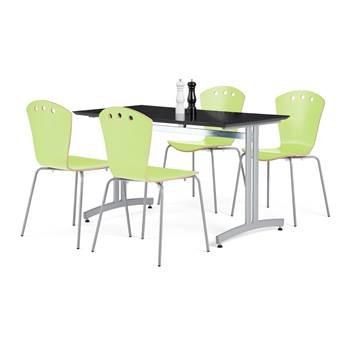 Lunchrumsgrupp: 1 bord 1200x700 mm, svart, 4 stolar i grönt och grå