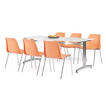 Canteen package deal: table + 6 chairs: orange