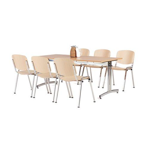Pakkepris: Kantinebord + 6 stoler i bøk