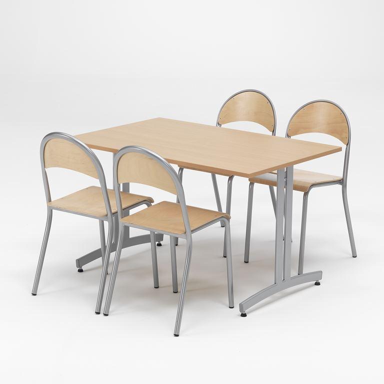 Zestaw do jadalni, Stół + 4 krzesła stelaż aluminium