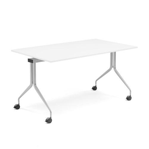Neuvottelupöytä, kokoontaitettava, 1400x800 mm, harmaa, valkoinen