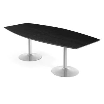 Stół konferencyjny, Blat czarny, Stelaż aluminium