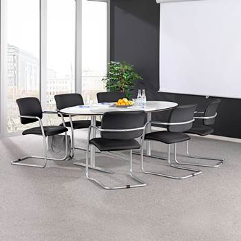 Oval conference table: white/alu