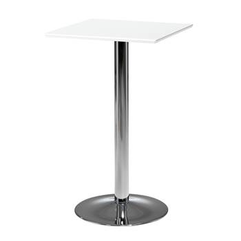 Modern bar table, 700x700x1125 mm, white, chrome