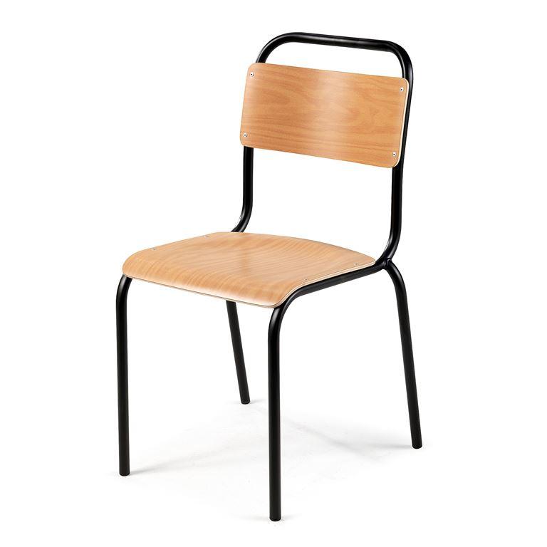 Krzesło do stołówki bez podłokietnikw, Kolor siedziska: Buk, Stelaż Czarny.