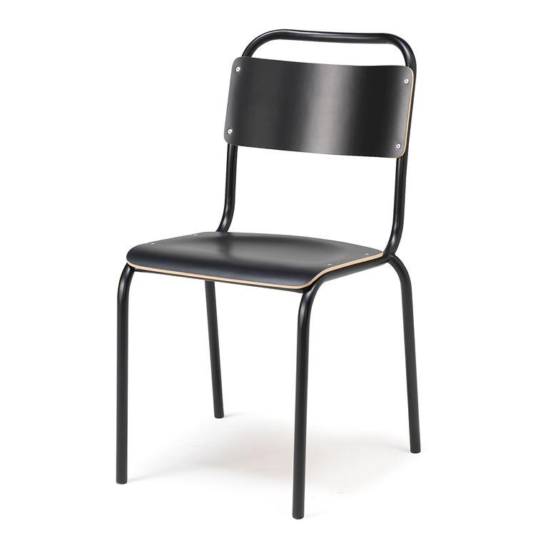 Krzesło do stołówki bez podłokietnikw, Kolor siedziska: Czarny, Stelaż Czar