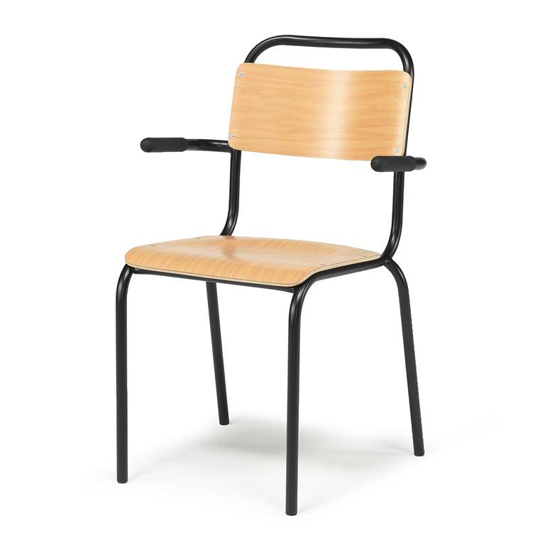 Tuoli käsinojilla, pyökki, musta