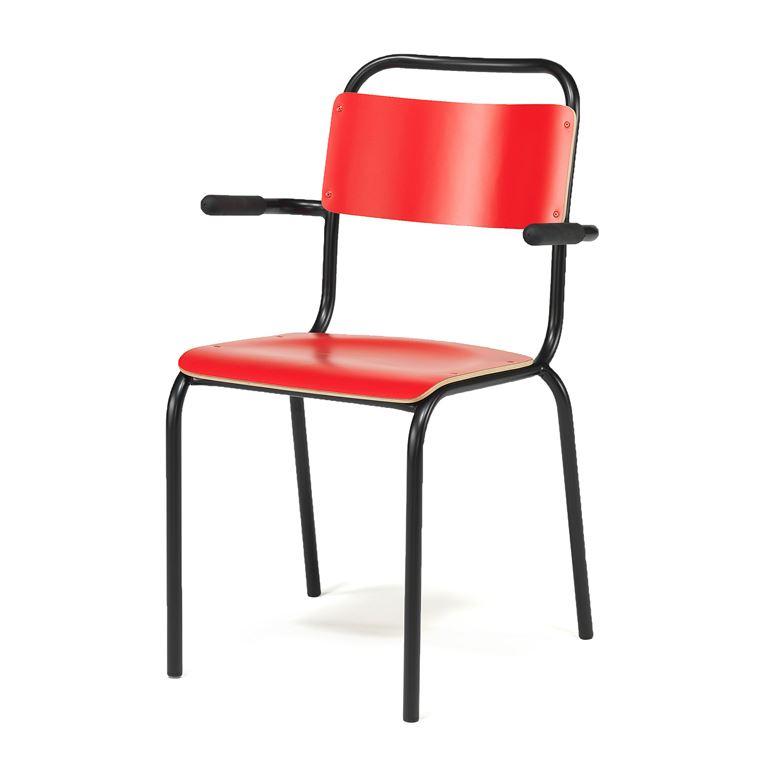Tuoli käsinojilla, punainen, musta