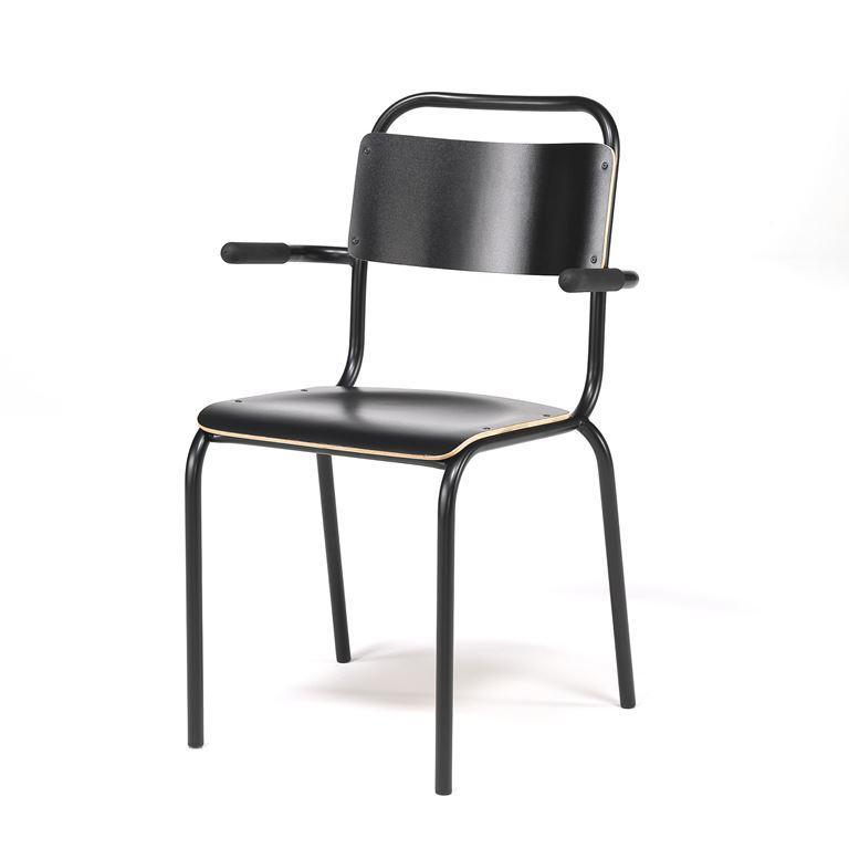 Tuoli käsinojilla, musta, musta