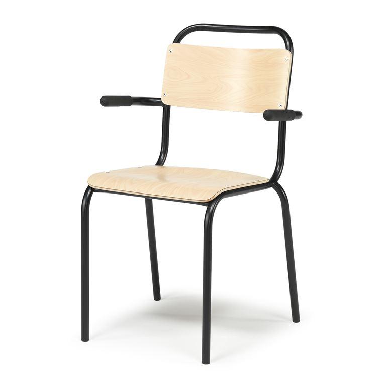 Krzesło do stołówki z podłokietnikami, Kolor siedziska: Brzoza, Stelaż Czar